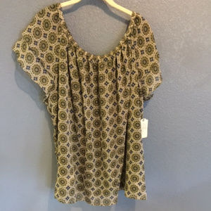 NWT - ST. JOHNS BAY FLUTTER SLEEVE PEASANT BLOUSE